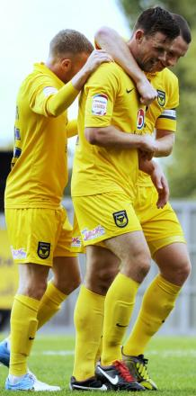 James Constable (right) and Tom Craddock are set to renew their strike partnership for Oxford United against Burton Albion tonight