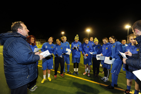 Oxford United Ladies prepare for the big game against Newcastle, with coach Richard Blackmore (left)