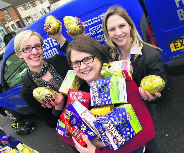 EASTER TREATS: Sarah Thompson and Claire Kingsbury, of Plus One Personnel, with Caroline Howson, of Bicester Foodbank