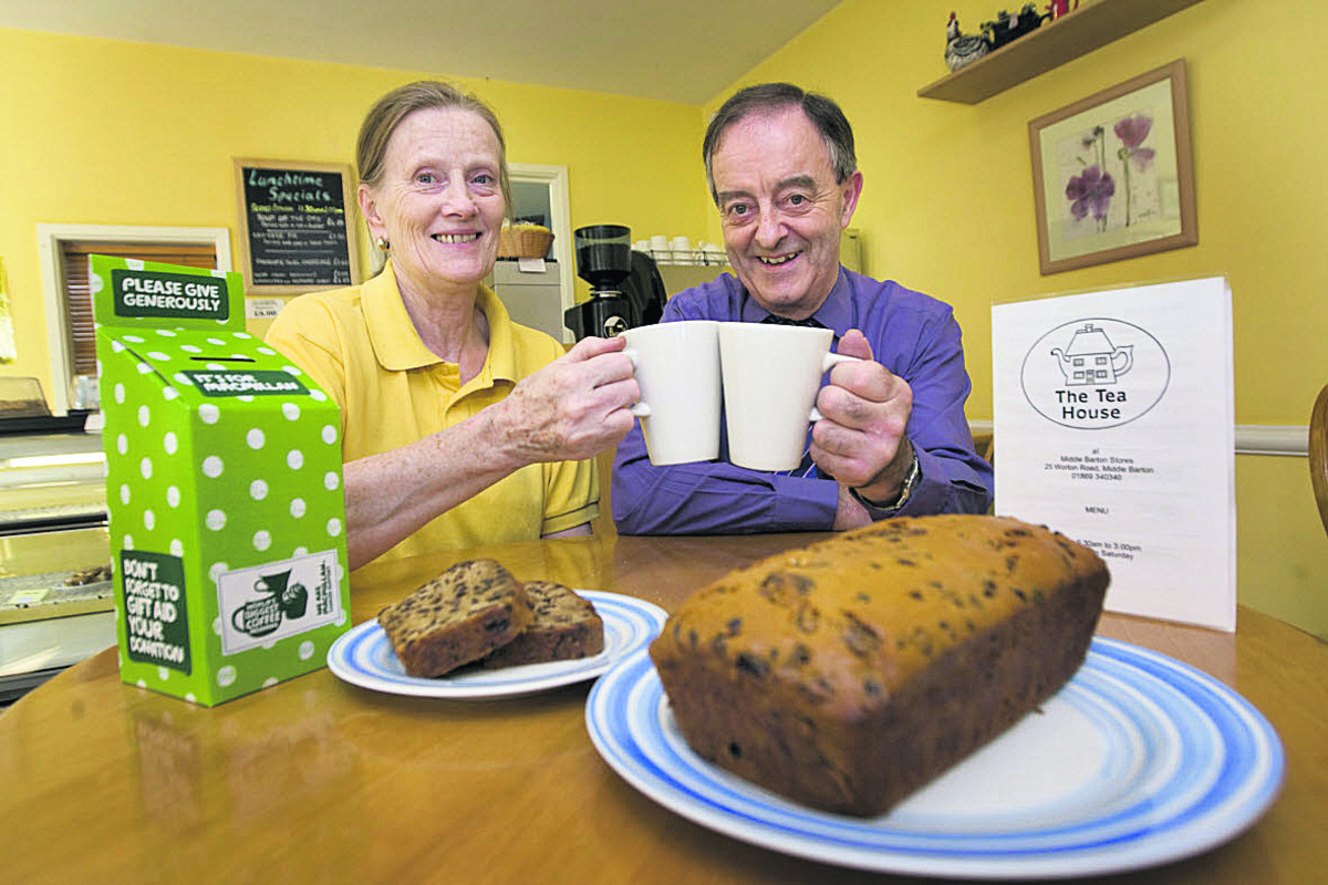 Monica and Richard Taphouse will hold their 10th Macmillan charity coffee morning at the Tea House – starring their fruit loaf. Picture: OX62164 Antony Moore
