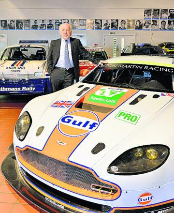 Prodrive chairman David Richards with an Aston Martin Vantage GTE. Picture: OX64626 Simon Williams