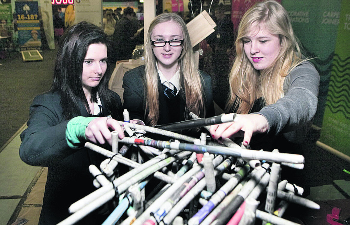 Zoe Wallace and Caitlin Rowbotham of St Gregory the Great School and Megan Hartwell of Rycotewood Furniture Centre, based at Oxford & Cherwell Valley college          Pictures: OX64758 Antony Moore