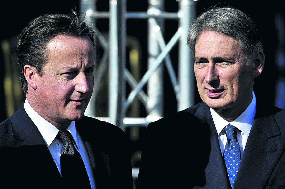 Defence Secretary Philip Hammond, right, with Prime Minister David Cameron