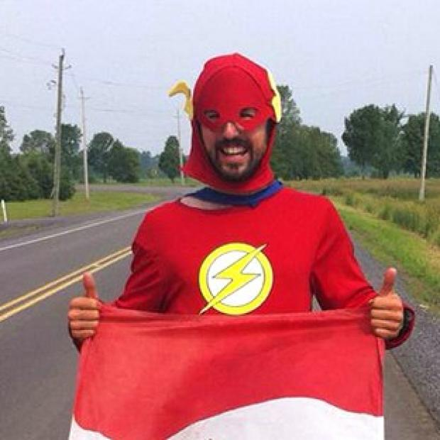 Banbury Cake: Jamie McDonald, 27, has completed a 12 month gruelling charity run across Canada dressed as a superhero.