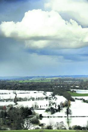 Flooded meadows near Dorchester, seen from Wittenham Clumps