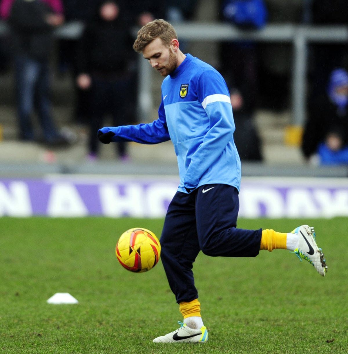 Alfie Potter takes part in the warm-up before Saturday's 1-1 draw at Bristol Rovers