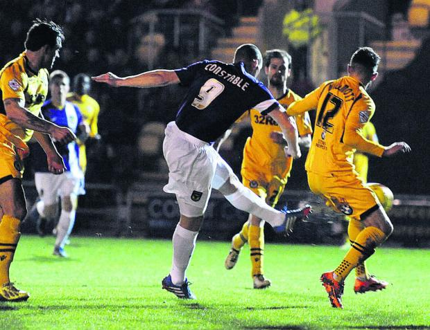 Banbury Cake: James Constable fires Oxford United into an early lead at Newport tonight