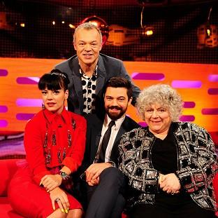 Banbury Cake: Presenter Graham Norton, back, with - from left - Lily Allen, Dominic Cooper and Miriam Margolyes