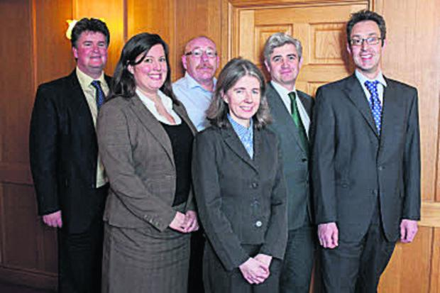 Pictured, from left, are Kyle Wyness, Nicola Muir, Steve McDonnell, Catherine O'Riordan, Patrick Mulcare, Graham Roberts.