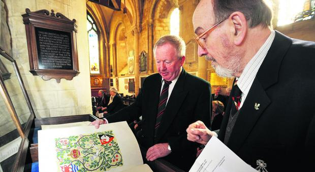 Banbury Cake: Brian Cox, right, with Major (Retd) Terry Roper and the books of remembrace
