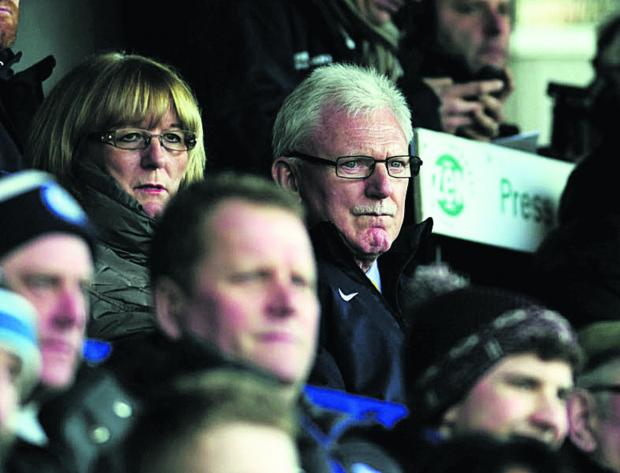 Ian Lenagan watches from the stands at Rochdale last weekend   P