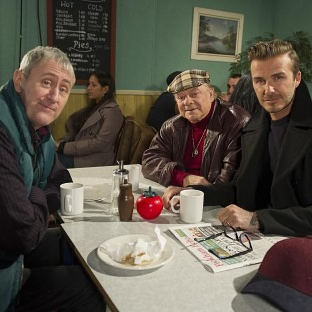 Banbury Cake: David Beckham joins Sir David Jason and Nicholas Lyndhurst as a guest in a special Only Fools And Horses sketch for Sport Relief