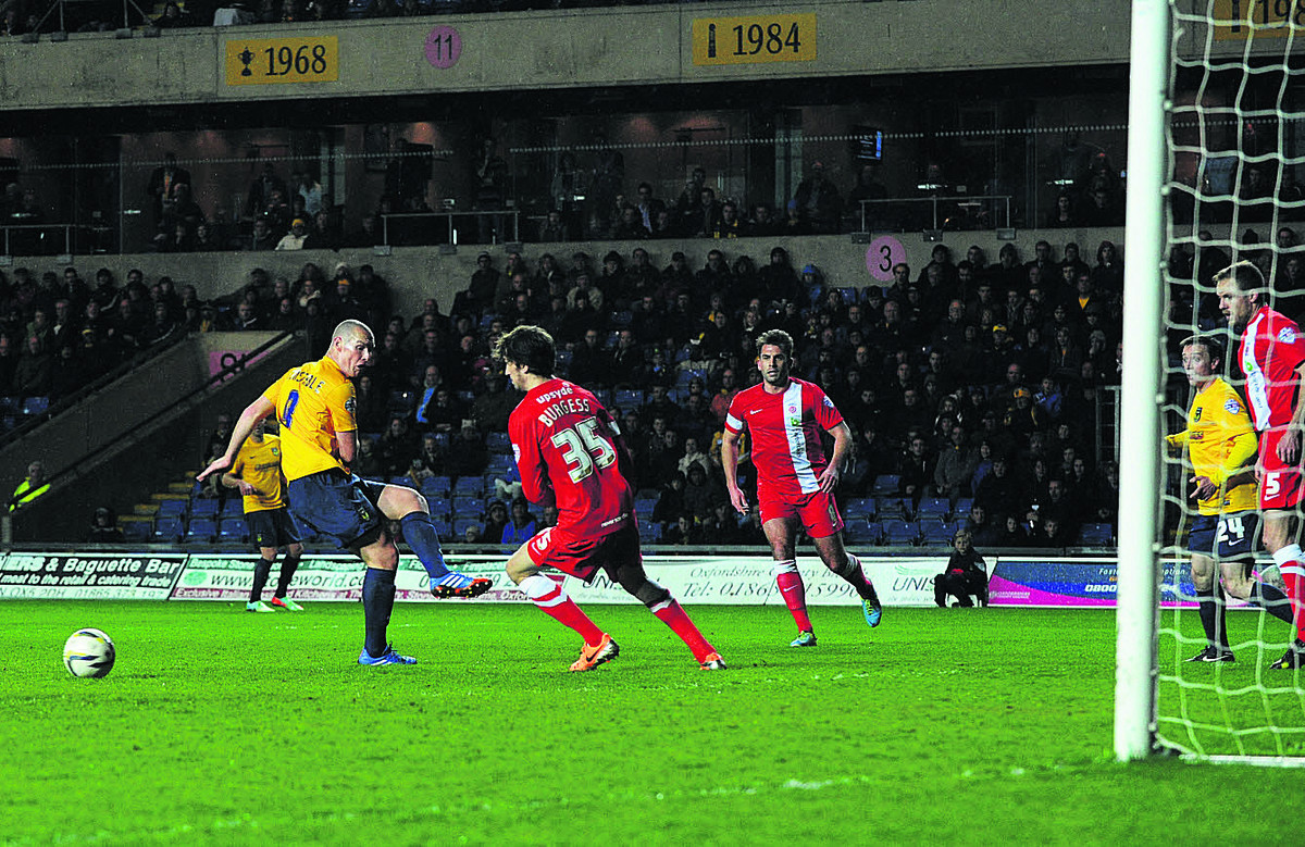 James Constable misses his shot in the first half against Hartlepool