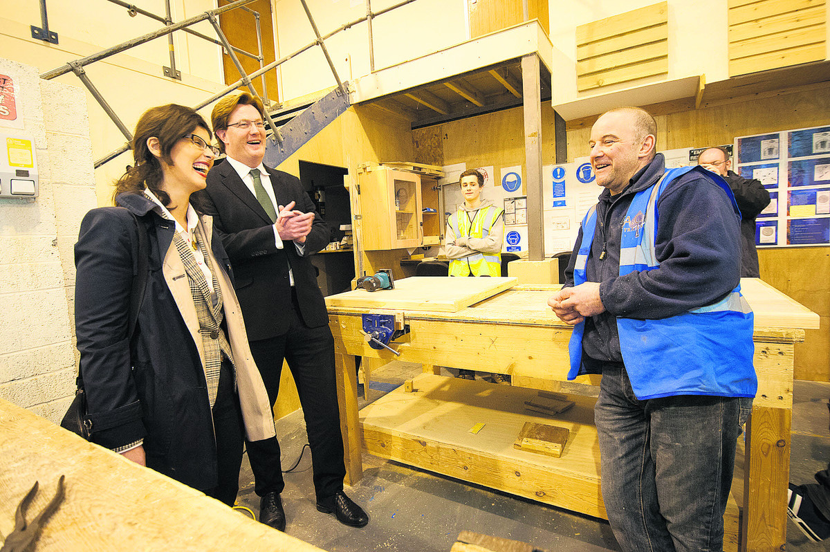 Liberal Democrat Parliamentary candidate Layla Moran, Chief Secretary to the Treasury Danny Alexander and carpentry tutor Keith Smith talk about apprenticeships at ACE Training in Kidlington. Picture: OX65152 Andrew Walmsley