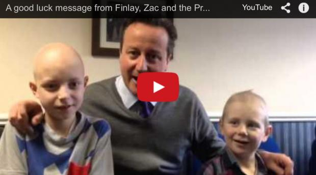 Video: David Cameron and Children's Hospital patients Zac and Finlay wish OX5 runners good luck + Happy Mother's Day