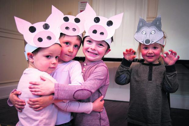 Banbury Cake: Nursery children, from left, Daniel Davis, James Stafford, Noah Hall and Amie Meakin delight their parents with an Easter performance of Three Little Pigs at Ipsden Early Days Nursery.  Picture: Aimee Kirkham