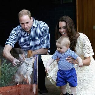 Banbury Cake: The Duke and Duchess of Cambridge and Prince George of Cambridge look at a Bilby called George at Taronga Zoo in Sydney (PA)