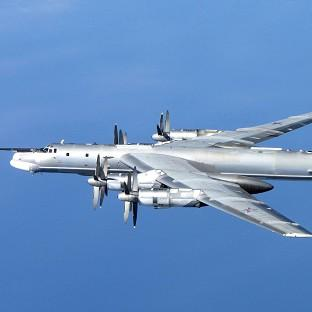 A Russian Tu-95 Bear H photographed by an RAF Typhoon f