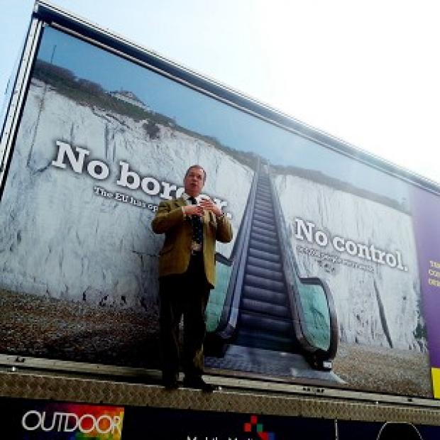 Banbury Cake: Ukip leader Nigel Farage launches Ukip's billboard campaign for the Euro-elections in Dover, Kent