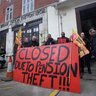 Euston fire station in central London where firefighters staged a strike in a row over pensions