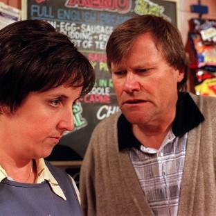 Julie Hesmondhalgh and David Neilson playing Hayley and Roy Cropper.
