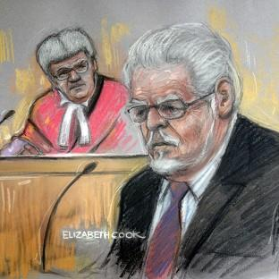 Banbury Cake: Court artist drawing by Elizabeth Cook of Rolf Harris in the dock at Southwark Crown Court. (Elizabeth Cook/PA)
