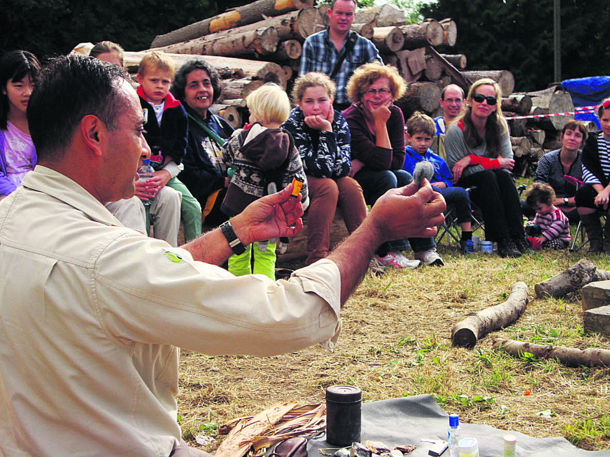 Manse Ahmed takes a fire-making demonstration at last year's RSPB Big Wild Sleepout in Wytham Woods