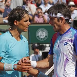 Leonardo Mayer, right, was unable to stop Rafael Nadal marching through in str