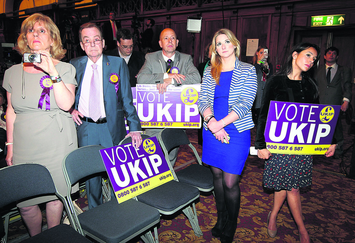 UKIP supporters listen to the other parties' victory speeches at the South East of England european election count in Southampton Guildhall on Sunday, May 25, when the votes were counted across the EU