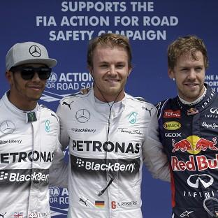 Nico Rosberg, centre, got the upper hand on team-mate Lewis Hamilton, right, in qualifying for the Canadian Grand Prix (AP)