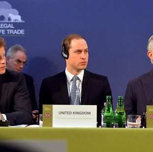 Prince Harry, left, with the Duke of Cambridge and the Prince of Wales, as they listen to speeches by foreign leaders at the Illegal Wildlife Trade Conference held at Lancaster House in Londo