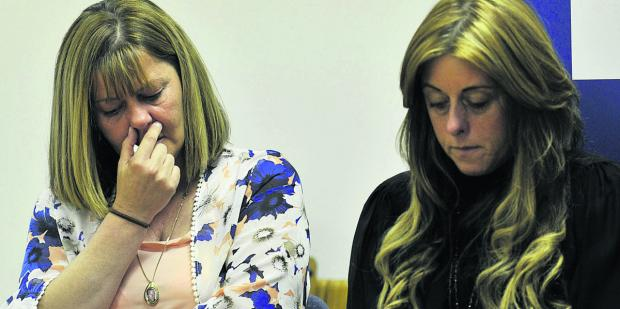 Michelle Lavelle, Kevin's widow and Lesley Lavelle, his sister, at yesterday's press conference. Pictures: OX67725 Mark Hemsworth