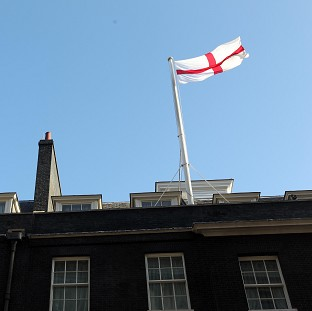 The flag of St George flying over 10 Downing Street