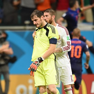 Sergio Ramos, right, has lent his support to Iker Casillas