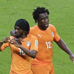 Gervinho, left, and Wilfried Bony were on target as the Ivory Coast beat Japan (AP)