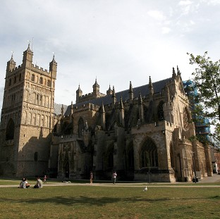 The fathers' rights campaigners scaled Exeter Cathedral