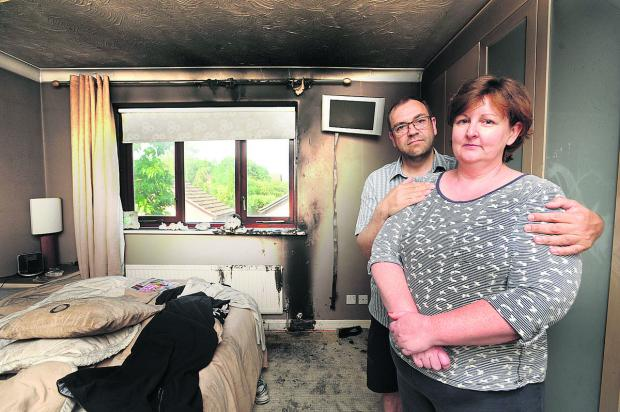 Banbury Cake: Elaine and Quentin Bossom in the bedroom set on fire by lightning on Saturday