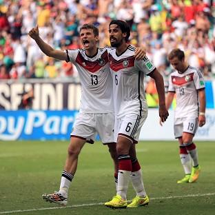 Thomas Muller, left, continued his impressive record in the World Cup finals