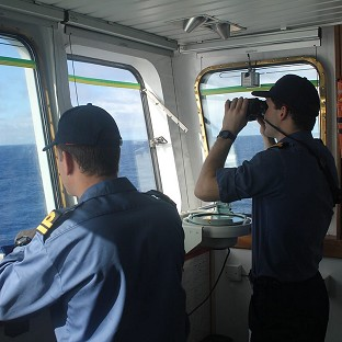 The crew on board survey ship HMS Echo helps the underwater search for missing Malaysia Airlines flight MH370 (MoD/PA)