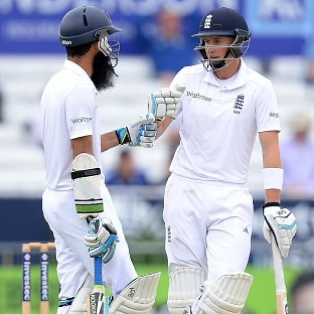 Banbury Cake: Moeen Ali, left, and Joe Root played conservatively to take the score to 83 for five at lunch