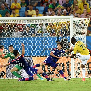 Jackson Martinez fires home the third Colombia goal
