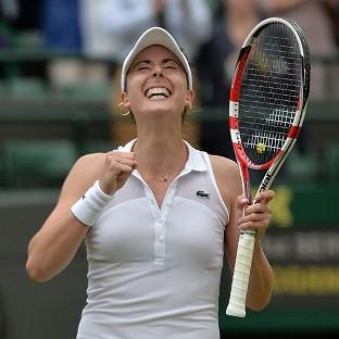 Alize Cornet, pictured, will face Eugenie Bouchard on Monday