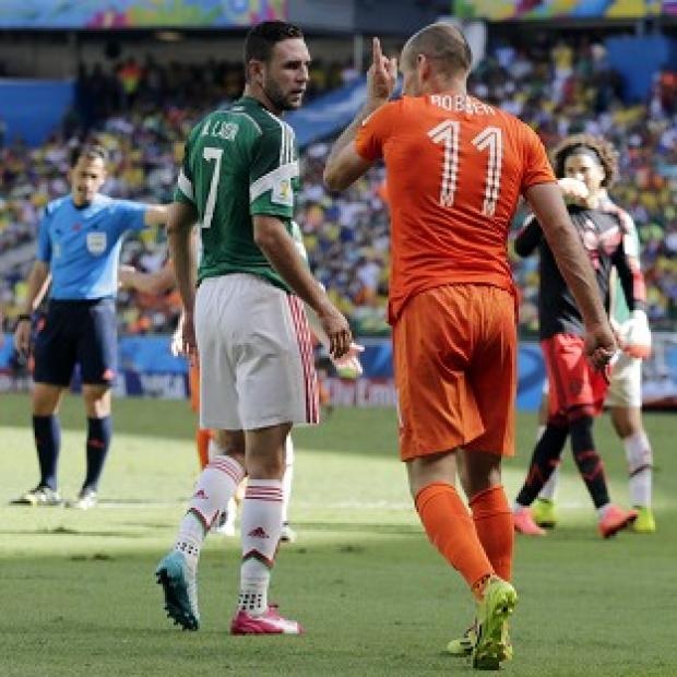 Banbury Cake: Arjen Robben, right, angered Mexico with his antics (AP)