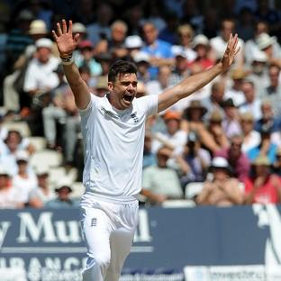 James Anderson, pictured, celebrates taking the wicket of India's Murali Vijay