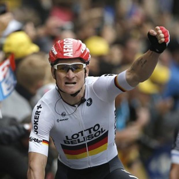 Banbury Cake: Andre Greipel, pictured, finished ahead of Alexander Kristoff and Samuel Dumoulin in Reims (AP)