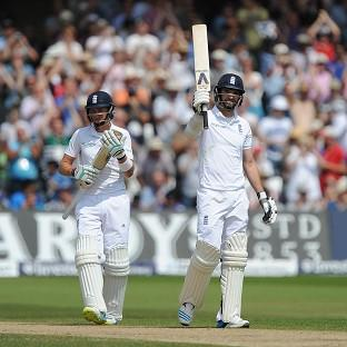 James Anderson, right, smashed his best ever score in cricket
