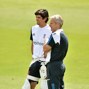 England coach Peter Moores, right, has confidence that Alastair Cook, left, will start contributing with the bat