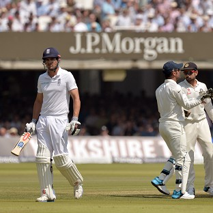 Alastair Cook, left, fell cheaply again for England at Lord's