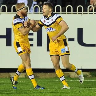 Castleford centre Michael Shenton, right, scored his side's first-half try