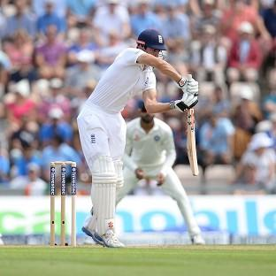 Alastair Cook survives a chance en route to 48 not out at lunch on day one